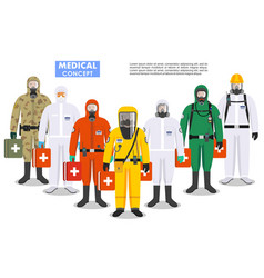 Medical concept detailed different doctors vector
