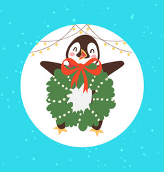 Merry christmas penguin bird with mistletoe wreath vector
