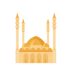 Mosque building yellow color vector