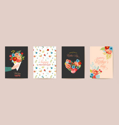 mothers day greeting card set spring happy mother vector image