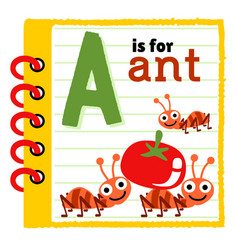 Note book paper with working ants cartoon vector