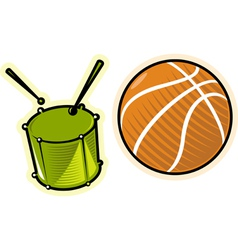 Objects drum and ball vector