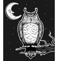 owl is sitting on tree vector image