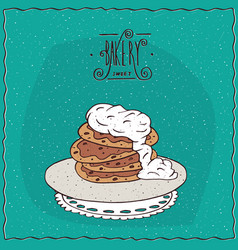 Pancakes with sour cream on lacy napkin vector
