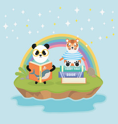 panda and tiger with books rainbow fantasy fairy vector image