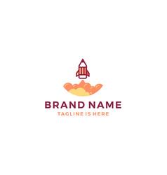 pencil rocket launch logo template icon vector image