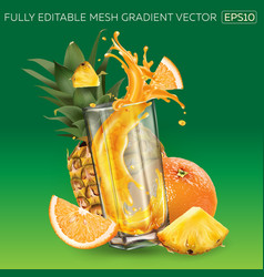 Pineapple orange and splashing juice in a glass vector
