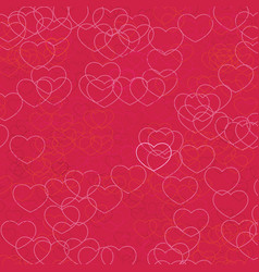 pink hearts pattern on crimson background vector image