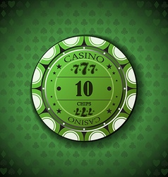 Poker chip nominal ten on card symbol background vector image