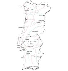 Portugal Black White Map vector image