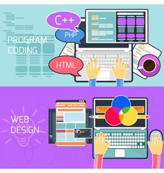 Program coding and web design vector