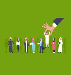Recruitment hand picking arab man candidate from vector