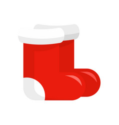 red santa shoes icon flat style vector image