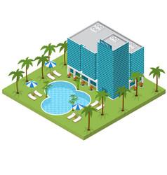 resort hotel building isometric view vector image vector image