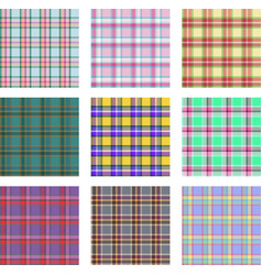 seamless background set plaid pattern vector image