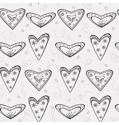 Seamless pattern with black hearts vector