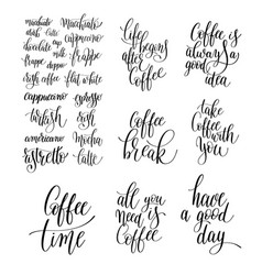 set black and white hand written lettering vector image