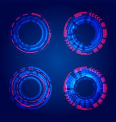 set hud circles technology blue circles vector image