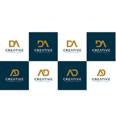 Set initials letter d and a abstract logo vector