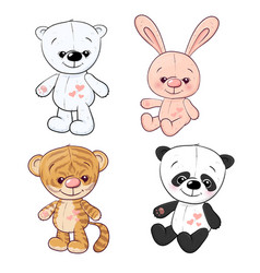 set little tiger cub tiger cub and panda hand vector image