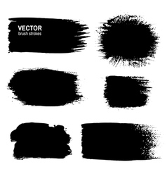 Set of black grunge paint ink brush strokes vector image vector image