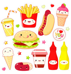 set of cute food icons in kawaii style vector image