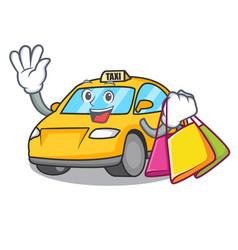 Shopping taxi character cartoon style vector