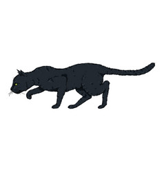Sneaking black cat vector
