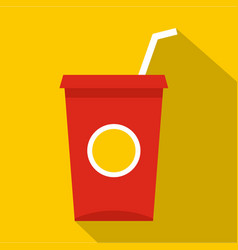 Soft drink in a red paper cup icon flat style vector