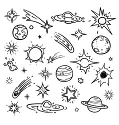 Space doodle elements hand drawn stars vector