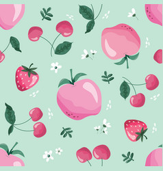 summer seamless pattern with fruits berries and vector image
