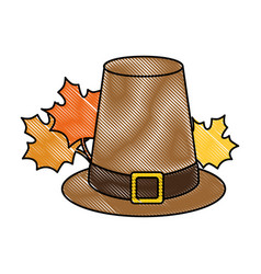 Thanksgiving hat with mapple leafs vector