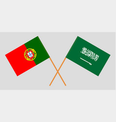 The portuguese and saudi arabia flags vector