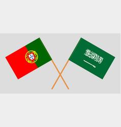 The portuguese and saudi arabia flags vector