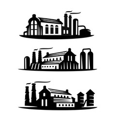 three emblems an industrial plant vector image