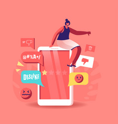 Tiny female character sit on huge smartphone vector