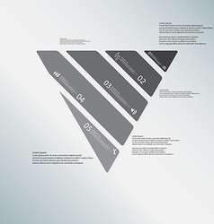 Triangle template consists of five greyscale parts vector