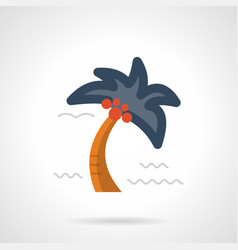 Tropical palm flat color icon vector