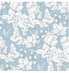 tropical pattern with tender orchid flowers vector image