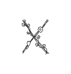 Vintage floral bold letter x logo spring classic vector