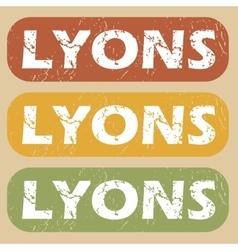 Vintage Lyons stamp set vector