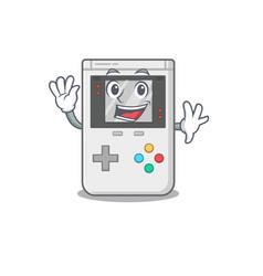 Waving cute smiley handheld game scroll cartoon vector