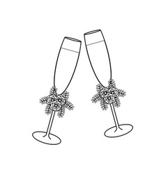 wedding glasses with champagne outline vector image