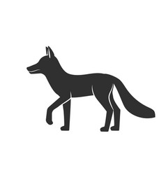 wild animals fox black silhouette on white vector image