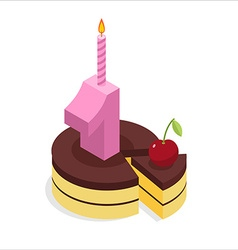1 year birthday Cake and Candle isometrics Number vector image