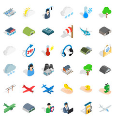 Aviation icons set isometric style vector