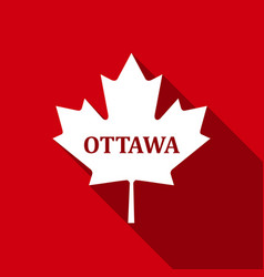 canadian maple leaf with city name ottawa flat vector image vector image