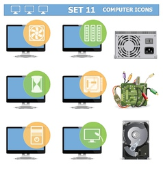 Computer Icons Set 11 vector image vector image