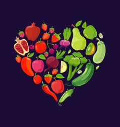 heart shapes with fruits and vegetables vector image