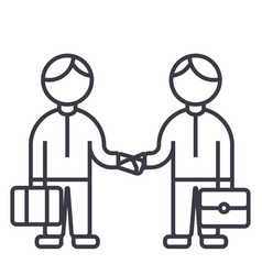 partnership handshakeworking together line vector image